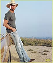 Kenny Chesney 8 Inch x10 Inch Photo She Thinks My Tractor's Sexy Hands in Pockets Leaning on Car Ankels Crossed White Hat kn