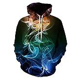 FENGMANG Jungen Mädchen Hoodie 3D Print KapuzenpulloverDigital bedrucktes Sweatshirt mit Kapuzenpullover, buntes Rauch-M