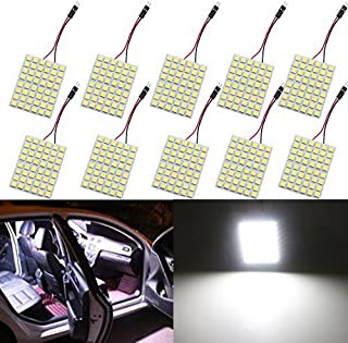 GLL Super White Energy-Saving 5050 48-SMD LED Panel Dome Light Auto Car Interior Reading Plate Light Roof Ceiling Interior Wired Lamp+T10 BA9S Festoon Adapter-10PCS