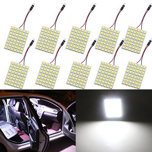 GrandviewTM Super White Energy-Saving 5050 48-SMD LED Panel Dome Light Auto Car Interior Reading Plate Light Roof Ceiling Interior Wired Lamp+T10 BA9S Festoon Adapter-10PCS
