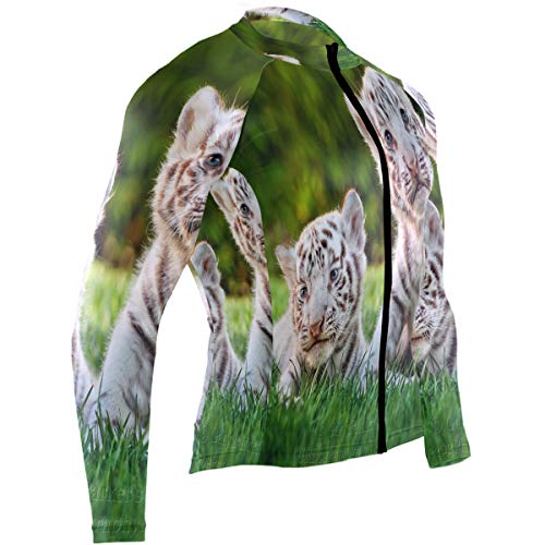 SLHFPX Cute White Tiger Baby Cubs Mens Cycling Jersey Jacket Long Sleeve Road Biking Skinsuits Outfit