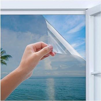 Rhodesy Uv Reflective Mirror Window Film, Homegoo One Way Silver Reflective Adhesive Privacy Mirror Window Film, Anti UV Heat Control Sun Blocker, Privacy Protection Glass Tint Sticker, 60 x 200 cm
