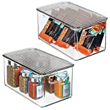 mDesign Plastic Stackable Kitchen Pantry Cabinet, Refrigerator, Freezer Food Storage Box with Handles, Lid - Organizer for Fruit, Yogurt, Snacks, Pasta - BPA Free, 10' Long, 2 Pack - Clear/Smoke Gray