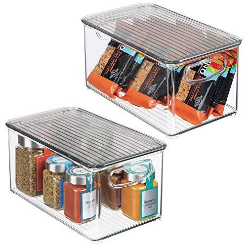 mDesign Juego de 2 cajas organizadoras con asas – Organizador de frigorífico con tapa para almacenar alimentos – Contenedor de plástico sin BPA para mueble de cocina o nevera – transparente/gris