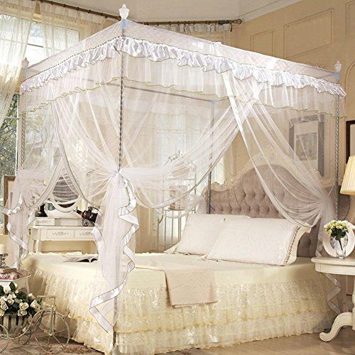 Zerodis Luxus Prinzessin Betthimmel Vier Eckpfosten Bett Vorhang Baldachin Netting Moskitonetz Bettwäsche für Mädchen Kinder Kinderbett Erwachsene Schlafzimmer Dekor(1.2 * 2.0M-Weiß)