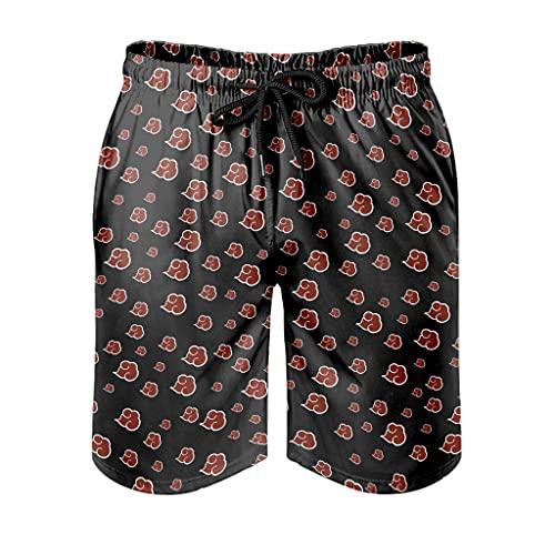 Dessionop Pantalones cortos de playa para hombre, diseño de nube, color rojo, estampado japonés, con forro de bolsillo, Hombre, Blanco, medium