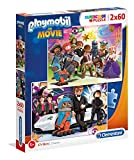 Clementoni 21611 Clementoni-21611-Supercolor Playmobil The Movie-2 x 60 Piezas, Puzzle para niños, Multicolor