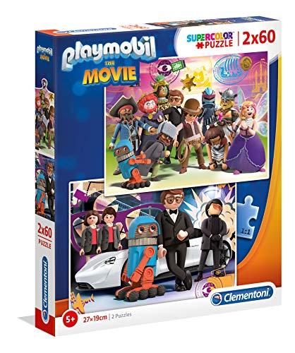 Clementoni- Puzle Playmobil Supercolor 2 x 60 Piezas, para niños a Partir de 5 años, Color Multicolor. (21611)