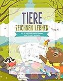 Tieren zeichnen lernen: Über 50 Tiere zeichnen lernen mit einfachen Schritt für Schritt Anleitungen | Tiere Malen und Zeichnen lernen für Kinder - Kinderbuch und Malbuch für Kinder