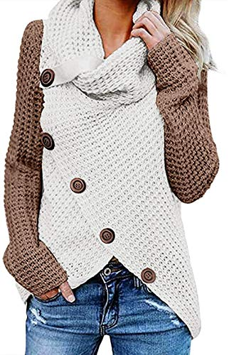 FIYOTE Damen Winterjacke Warm Strickjacke Rollkragen Cardigan Strickpullover Casual Wrap Wickel Pullover Sweater 7 Farbe S/M/L/XL/XXL, 2-brown, L