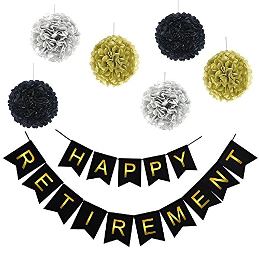 LOCCA Happy Retirement Banner Bunting Sign Black and Gold Retirement Party Decorations Supplies Gifts Favors, Hanging Paper Decorations with Paper Tissue Pom Poms (Black)