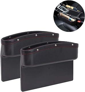 Aiky Car Seat Organizer 2 Pack Car Seat Gap Organizer Pockets PU Leather + ABS Car Console Side Storage Box Seat Gap Fille...