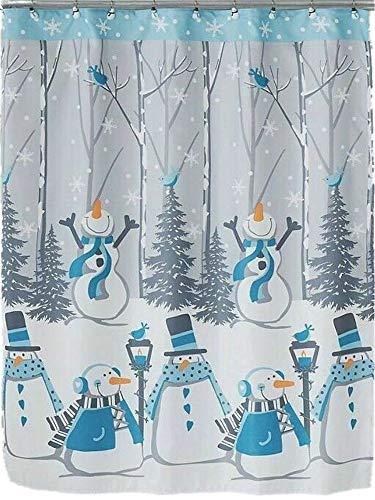 Winter Wonderland Holiday Snow Buddies Snowman Shower Curtain & Hook Set