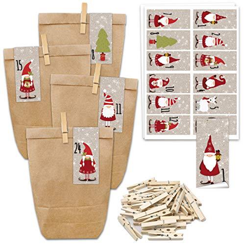 24 Bolsas de Papel con Pegatinas + 24 Pinzas de Madera para el Calendario de Adviento - Motivo Pegatina Cuadrada - Papa Noel - 62