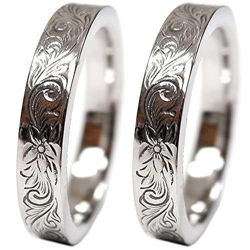 ペアリング 刻印無料 ペアハワイアンジュエリー リング 指輪 プルメリア サージカルステンレス 花 写真フレーム フラワー レディース:9号 メンズ:17号