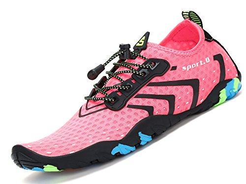 Zapatos de Agua para Buceo Snorkel Surf Piscina Playa Vela Mar Río Aqua Cycling Deportes Acuáticos Calzado de Natación Escarpines para Mujer Rosado, 38 EU