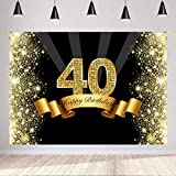 Happy 40th Birthday Backdrop 7X5FT Gold and Black 40th Birthday Photography Background Golden Glitter Photo Studio Booth Backdrops Forty Years Old Age Party Cake Table Decoration Supplies Vinyl