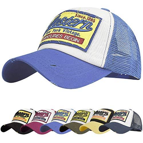 UMIPUBO Gorra de béisbol para Hombre Ajustable Classic Mesh Gorra Unisex molienda Borde Haga Viejo Sombrero (Azul)