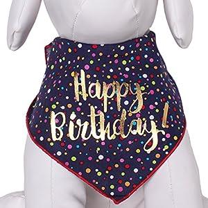 Tail Trends Happy Birthday Unisex Dog Bandana – 100% Cotton (L)