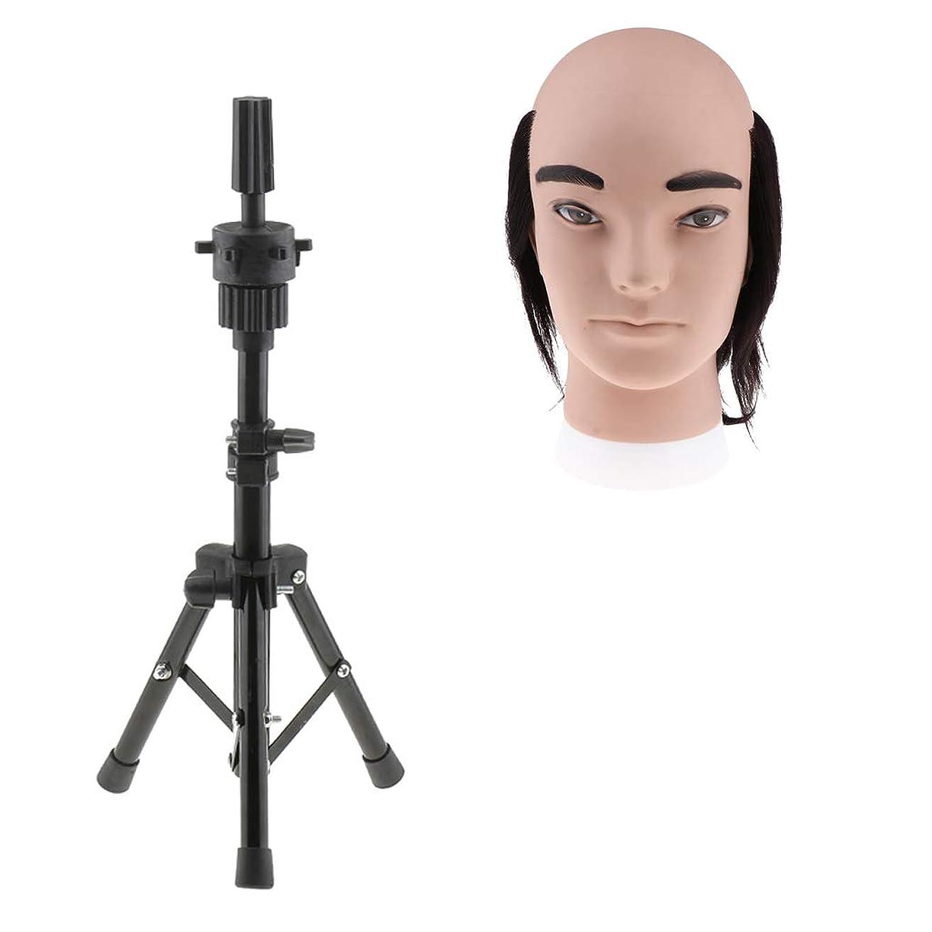 天才起きろオートマトンCUTICATE 人間の髪毛 男性 マネキン トレーニング マネキン美容人形 人形の頭付き三脚ホルダー