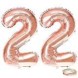 JKJF Globos con número 22 de color oro rosa con número 22, tamaño XXXL, globos de 40 pulgadas, para mujeres, cumpleaños, bodas, aniversarios, fiestas, decoración