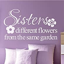 Sisters Different Flowers From The Same Garden Family Wall Decal Sisters Wall Quote Flower Wall Sticker Vinyl Wall Letters Words Girls Room Art Decor White