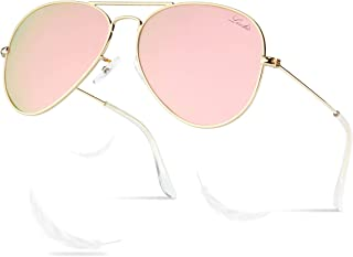 LIVHO 2 Sizes Classic Aviator Polarized Sunglasses for Women Men Metal Frame Mirror UV400 Lens Protection Glasses