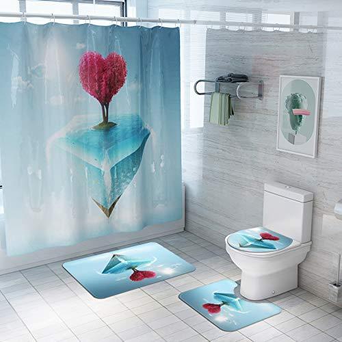 Fansu Juego de Alfombra de baño Antideslizante Tapa de Inodoro Alfombrilla de baño Cortina de Ducha, Lavable Felpudo para Cuarto de baño Enamorado Impresión (Diamante,Conjunto de 4 Piezas)