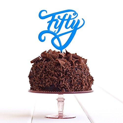 Directly Personalised Fifty 50 Fiftieth fête d'anniversaire de gâteau Plastique Acrylique Décoration Alimentaire régulier