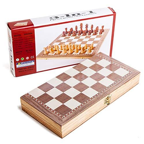Ewha Juego de ajedrez 3 en 1, Juego de ajedrez de Madera, Damas, ajedrez de Viaje Interior, Tablero de ajedrez Plegable de Madera, Piezas de ajedrez