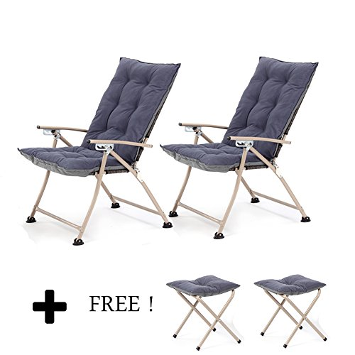 CampLand Deluxe Padded Reclining Chair with footrest Adjustable Camping Fishing Folding Cushion Relax Lazy Chair (Dark Blue, One Pack)