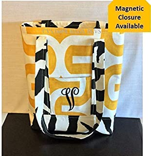 895e7b7eff Tote Bag with Inside and Outside Pockets shown in Yellow Embrace and Black  Zebra with Black