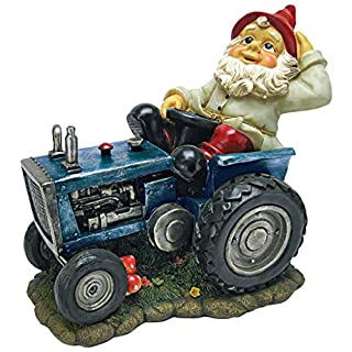 Garden Gnome Statue Plowing Tractor