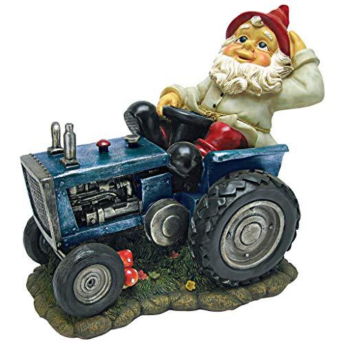 Garden Gnome Statue - Plowing Pete Garden Gnome Tractor - Lawn Gnome