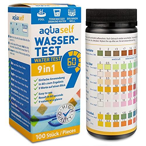 aquaself 9-in-1 Wassertest – 100 Stück Trinkwasser Teststreifen zur Überprüfung der Wasserqualität