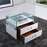 i-flair - Nachttisch, Nachtkonsole aus hochwertigem Kunstleder - S69 Weiß