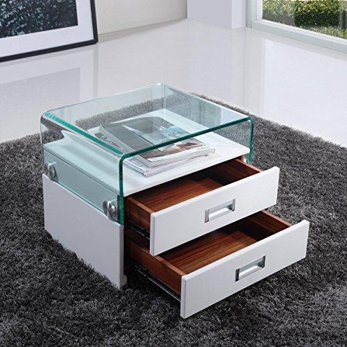 i-flair® - Nachttisch, Nachtkonsole aus hochwertigem Kunstleder - S69 Weiß