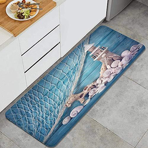Nautical Coastal Sea Shell Fishing Net Lighthouse Starfish Ocean Beach Theme Blue Farmhouse Marine Anti Fatigue Kitchen Mat Comfort Floor Mats Non-Slip Easy to Clean Kitchen Rug