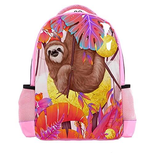 Girl Pink Backpack Women Shoulder Bags College Bookbag Travel Rucksack Cute Sloth