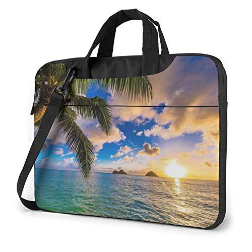 Tropical Hawaii Palm Tree Ocean Sea Sunset Laptop Bag Messenger Bag Briefcase Satchel Shoulder Crossbody Sling Working Bag