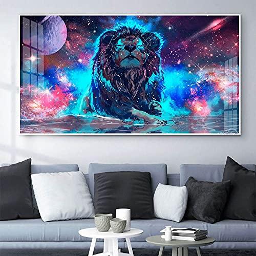 Puzzle 1000 piezas Mural de pintura de arte de dibujos animados de león fluorescente animal puzzle 1000 piezas paisajes Juegos familiares para adultos divertidos para niños Ro50x75cm(20x30inch)