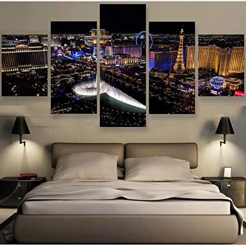 Cuadro en Lienzo Las Vegas 5 Piezas Impresiones sobre Lienzo Impresión Artística Imagen Gráfica Cuadros Modernos para Decoración del hogar Sin Marco 150 x 80 cm