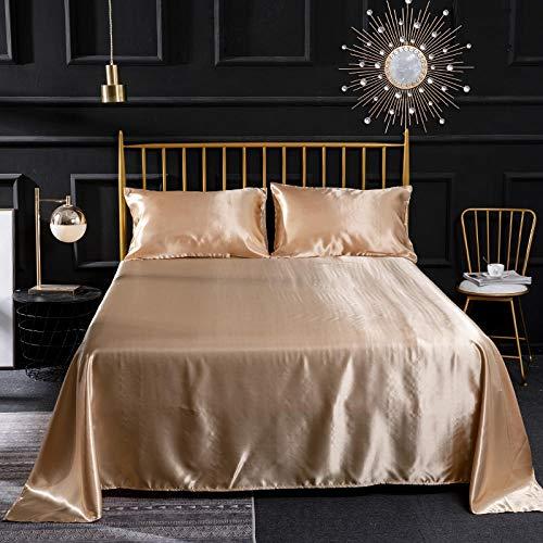 N -A HOT! 100% pure satin silk bedding set,Home Textile King size bed set,bedclothes,Set Soft Silk Satin Flat SheetFitted Sheet duvet cover flat sheet pillowcases,180x200cm+35cm(4pcs),Depth 14 inches
