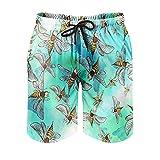 OwlOwlfan Bees - Pantalones cortos de playa para hombre de secado rápido y agradable a la piel, con bolsillos elásticos con cordón para verano y vacaciones en la playa