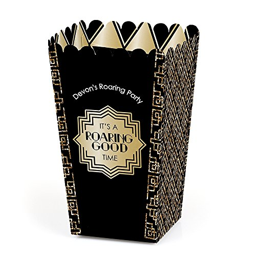Big Dot of Happiness Personalized Roaring 20's - Custom 1920s Art Deco Jazz Party Favor Popcorn Treat Boxes - Custom Text - Set of 12