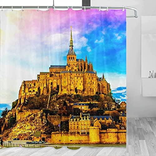 Mont St Michel Normandy Shower Curtain Travel Bathroom Decor Set con Hooks Poliéster 72x72in (YL-02002)