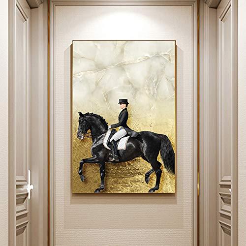 Geen frame krijt ng meubelwinst, zwart doek canvas gouden paard ridder olie ng, bedrukking appartement, corporate wallpaper40x60cm
