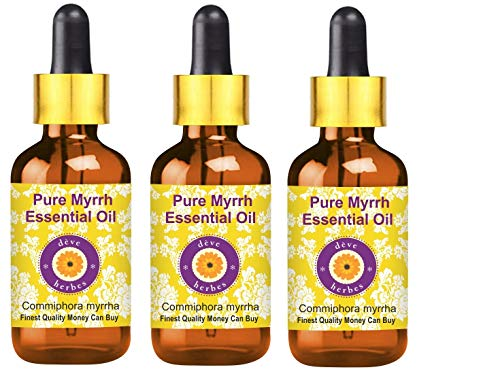Deve Herbes Pure Myrrh Essential Oil (Commiphora myrrha) with Glass Dropper Premium Therapeutic Grade Steam Distilled for Personal Care (Pack of Three) 100ml X 3 (10.1oz)