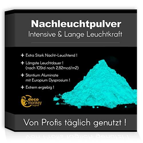 decomonkey Profi Nachleuchtpigment Glühpulver 100g hellblau Nachtleuchtendes Phosphoreszierend selbstleuchtend Glow Pulver Nachleuchtpulver Leuchtfarben Nacht Leuchtpulver