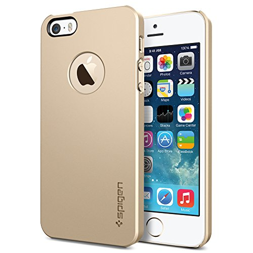 iPhone 5s Case, Spigen Apple iPhone 5S Case Slim [Ultra Thin Air] [Champagne Gold] Premium SM Coated Matte Hard Case with Apple Logo Cutout for the NEW iPhone 5S and iPhone 5 - Champagne Gold (SGP10607)